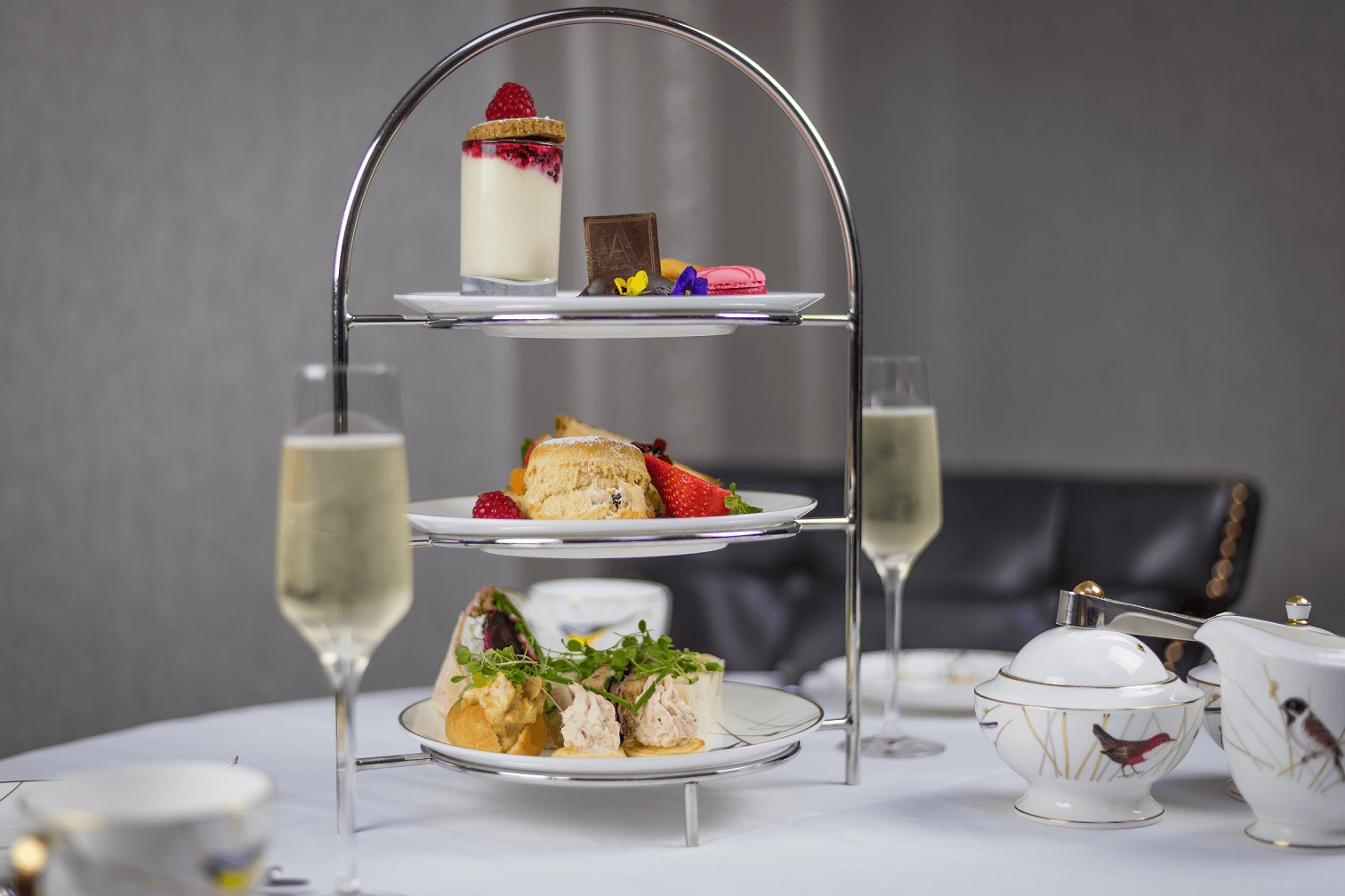 atrium lounge afternoon tea with prosecco