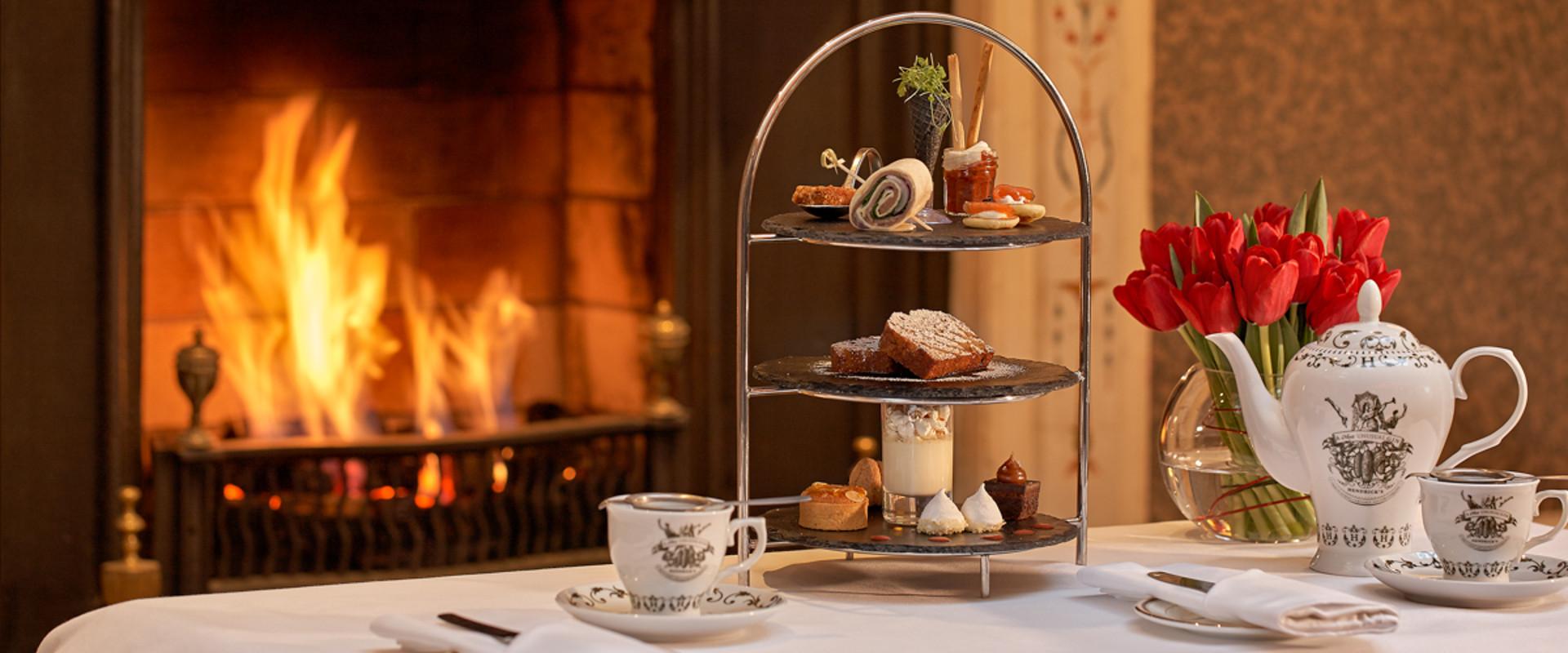 The Atrium Lounge Fireplace- Afternoon Tea Setting
