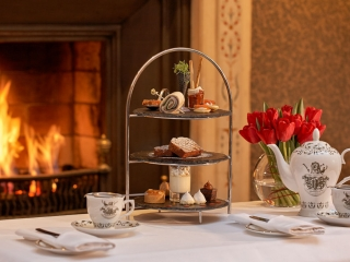 The Atrium Lounge Dublin Fireplace- Afternoon Tea Setting