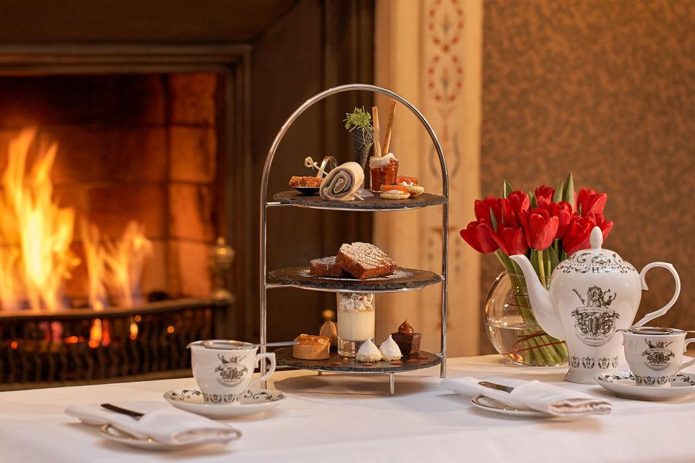 The Atrium Lounge Dublin Fireplace- Afternoon Tea Setting