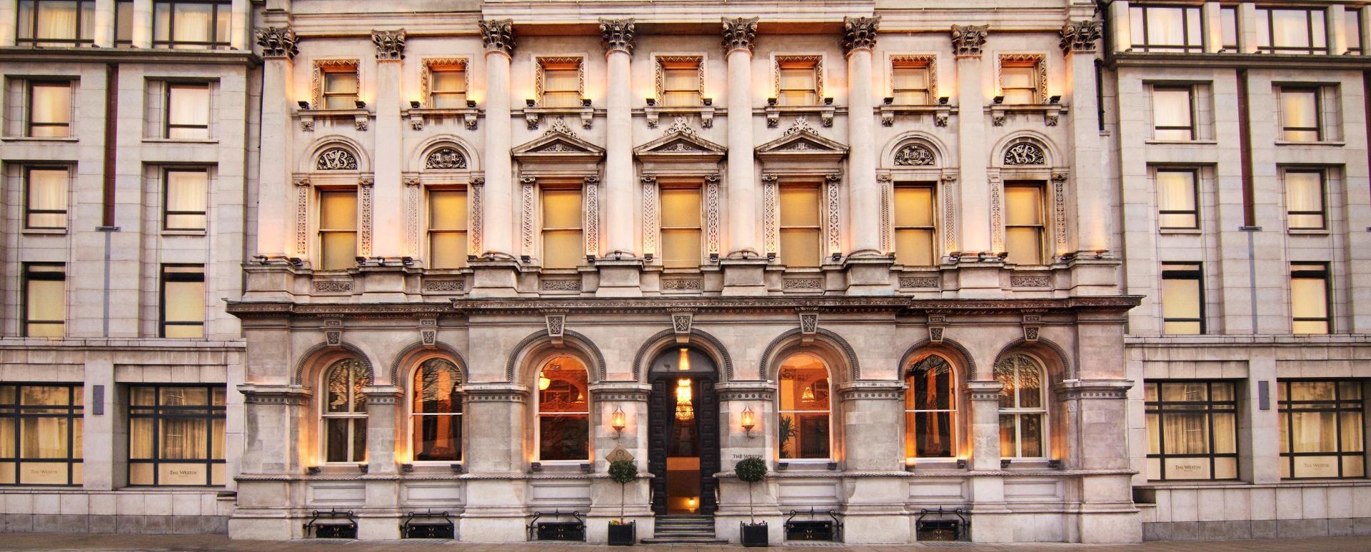 Westin Wedding Hotel Dublin Banking Hall Exterior at Dawn