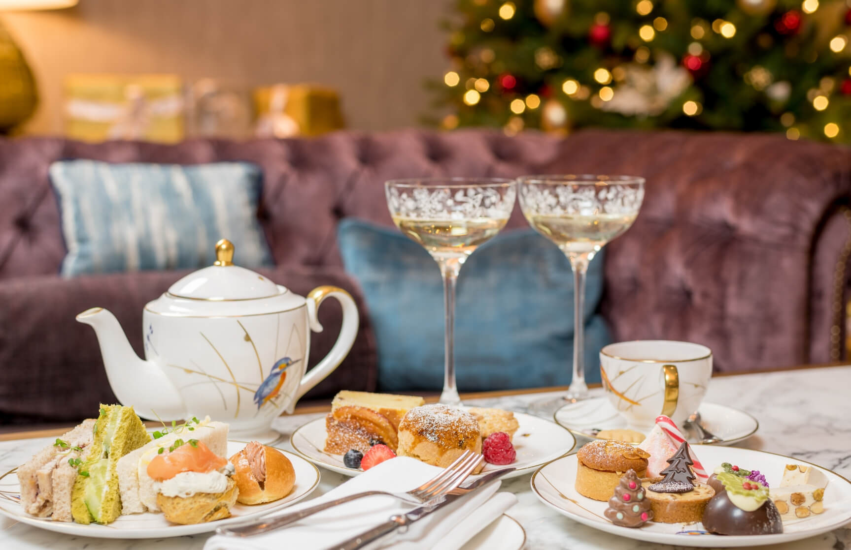 festive afternoon tea with champagne at the atrium lounge
