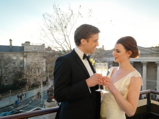 Wedding Couple on Presidential Suite Balcony Dublin