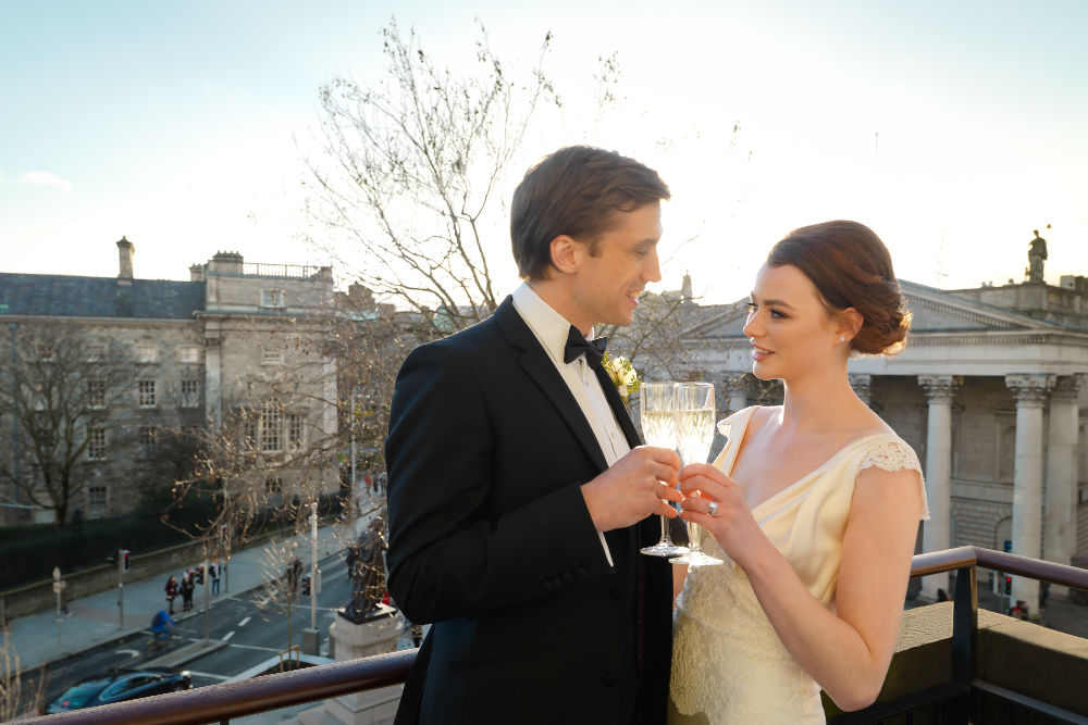 Wedding Couple on Presidential Suite Balcony Dublin