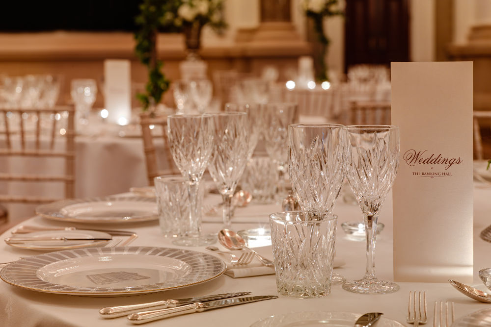 Banking Hall Wedding Table Setting Dublin