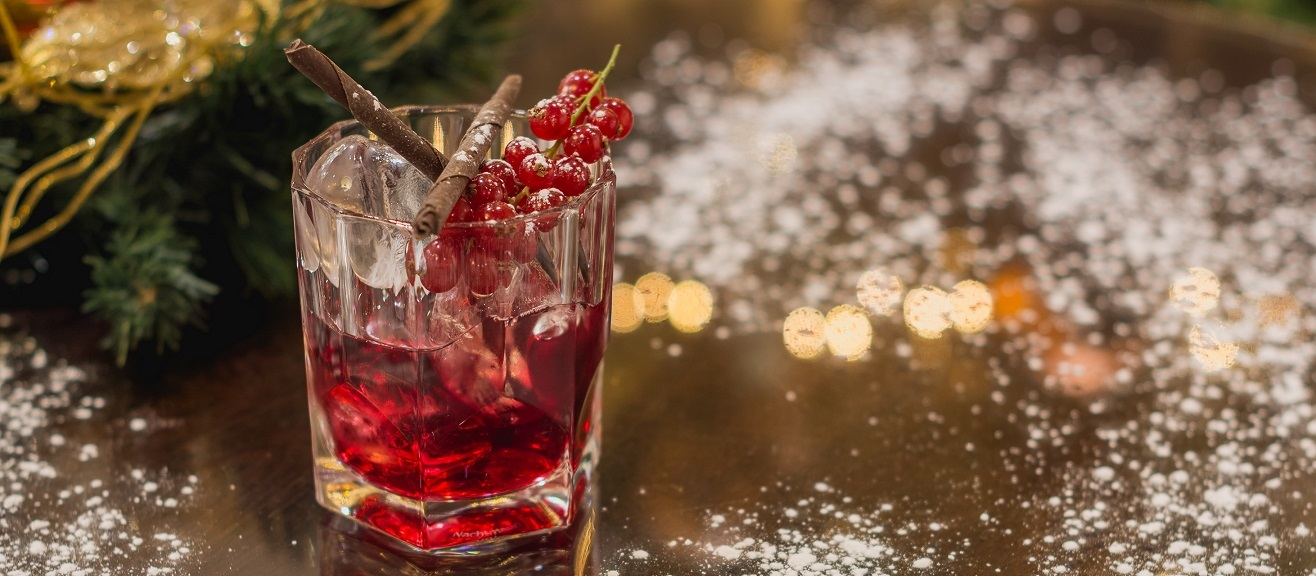christmas themed cocktail at the mint bar