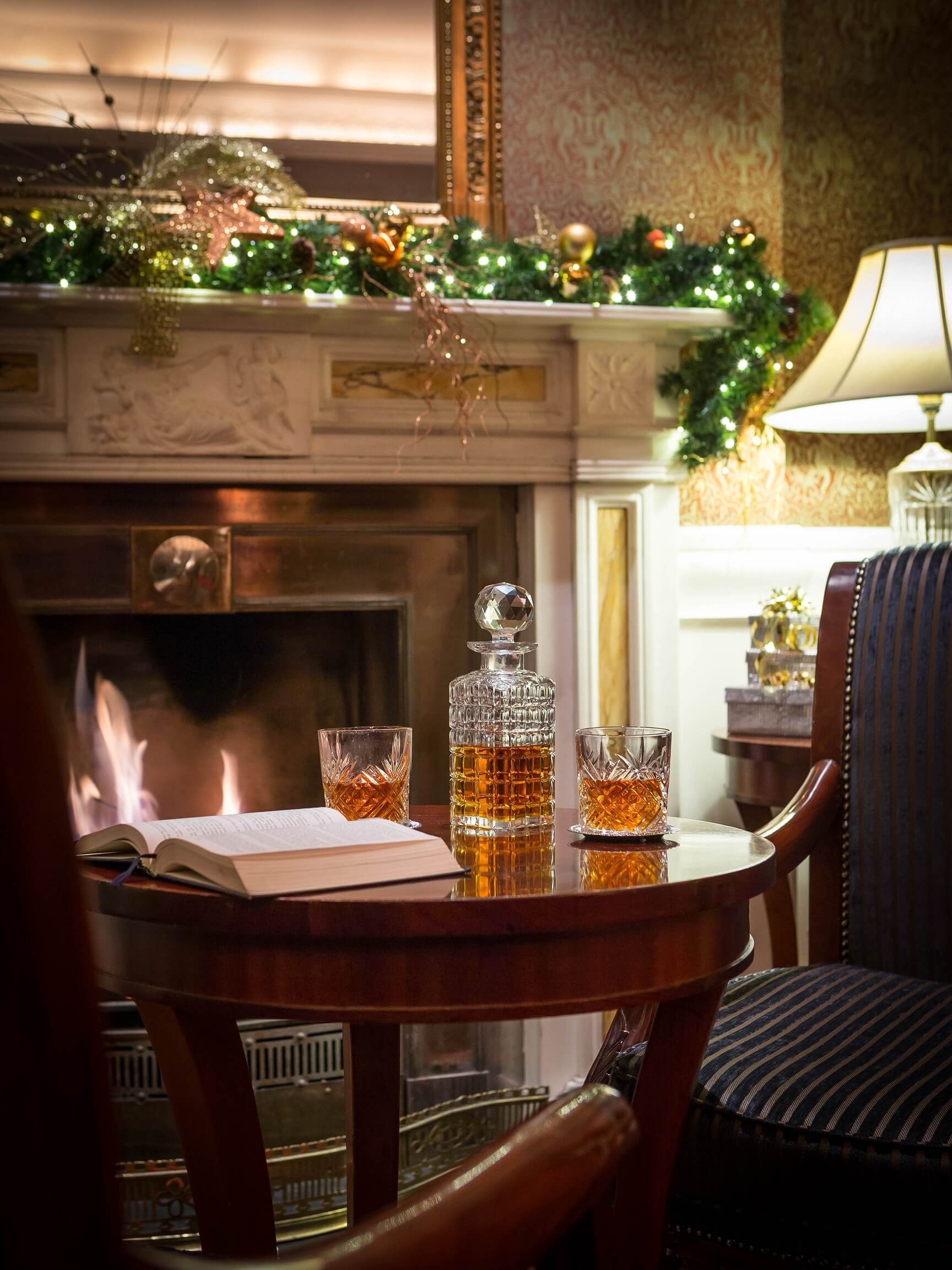 Whiskey in festive setting at the Atrium Lounge