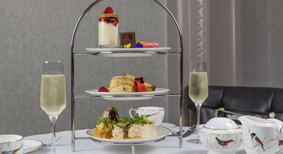 afternoon tea with prosecco display at atrium lounge
