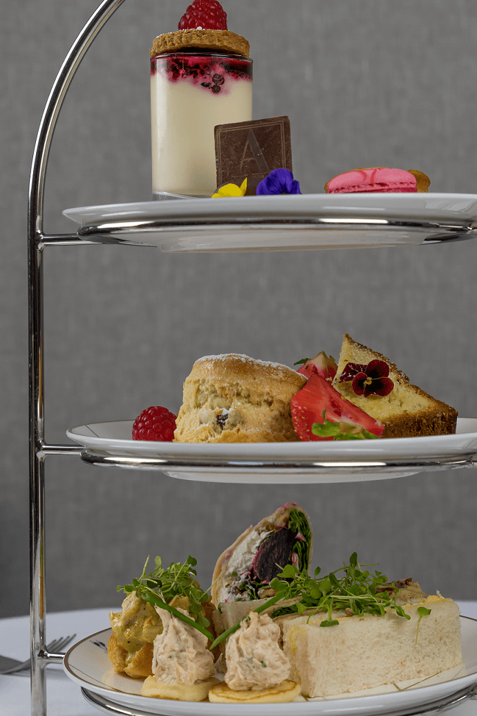 afternoon tea stand at the atrium lounge