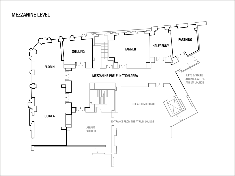 Mezzanine Level Plan of meeting rooms at westin dublin